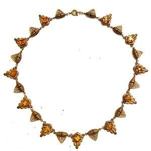 CZECH GLASS Art Deco citrine necklace
